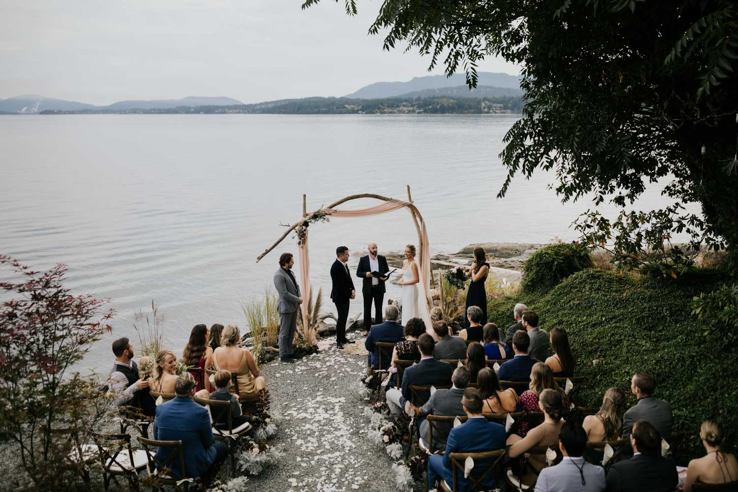 Perfect intimate Vancouver Island Wedding Venue on the beach with mountain views