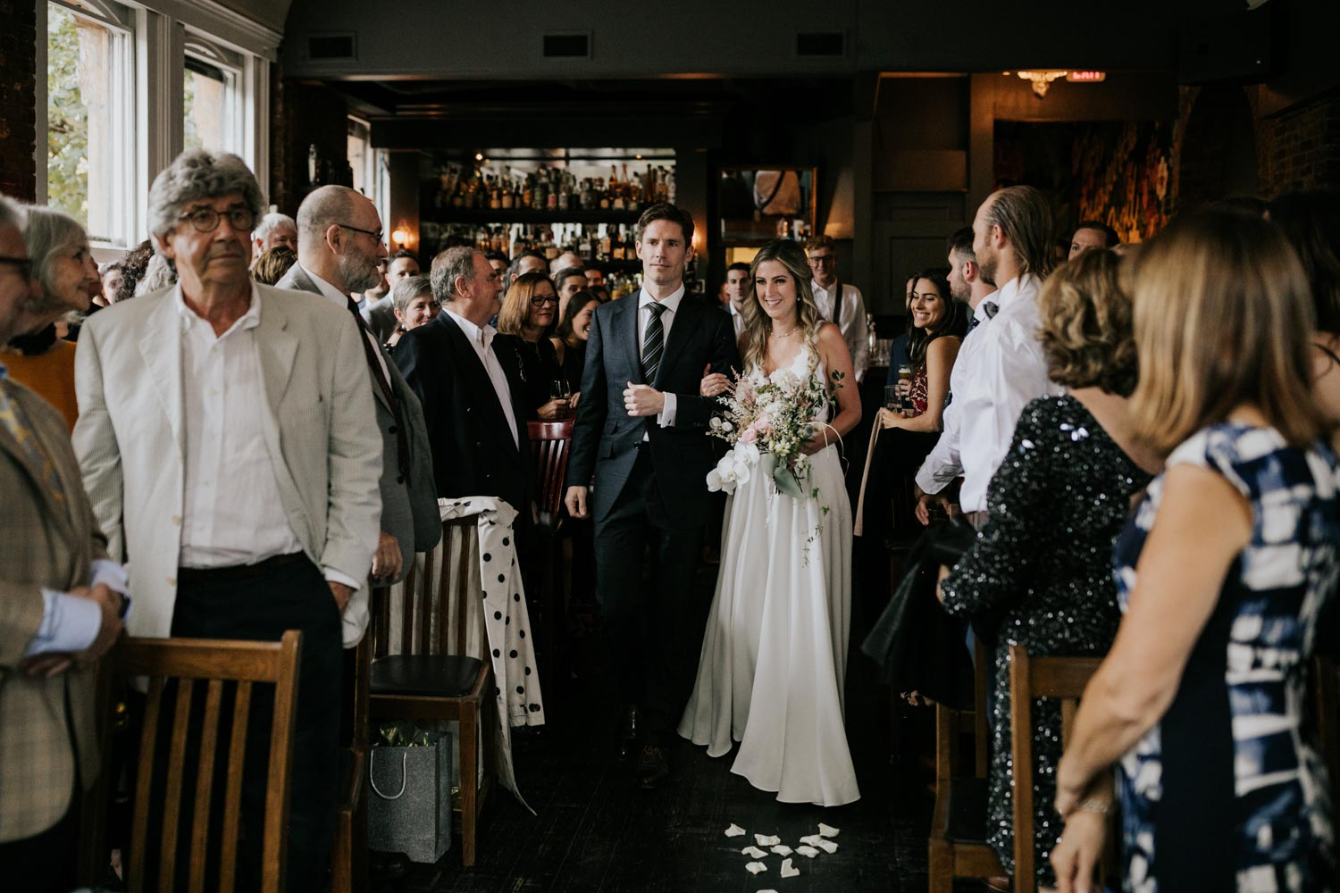 Bride walks down the aisle in quirky Gastown wedding venue, The Diamond