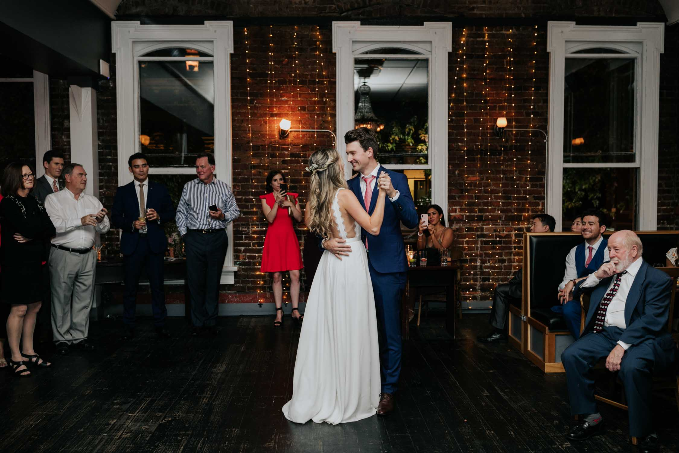 Newlyweds first dance in Vancouver heritage wedding venue