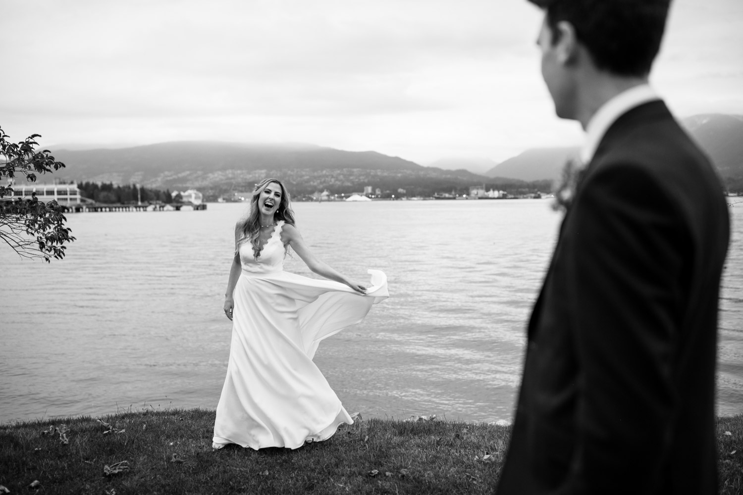 Happy candid fun wedding photo by Vancouver wedding photographer