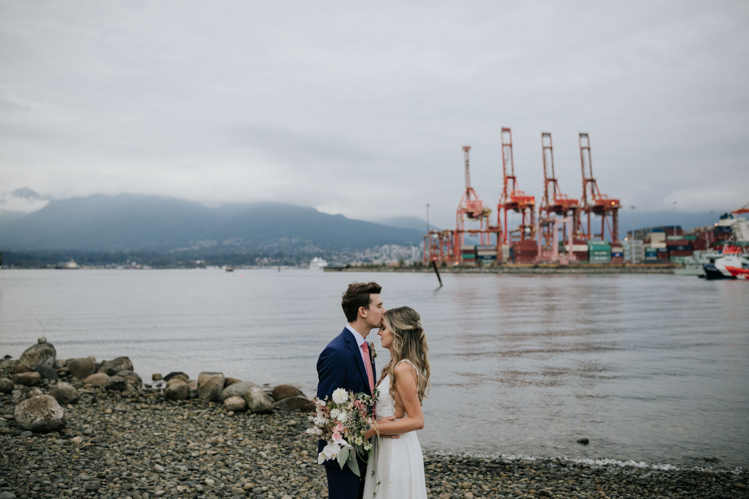 Crab Park, Vancouver BC Wedding Couple Photo Session on the beach
