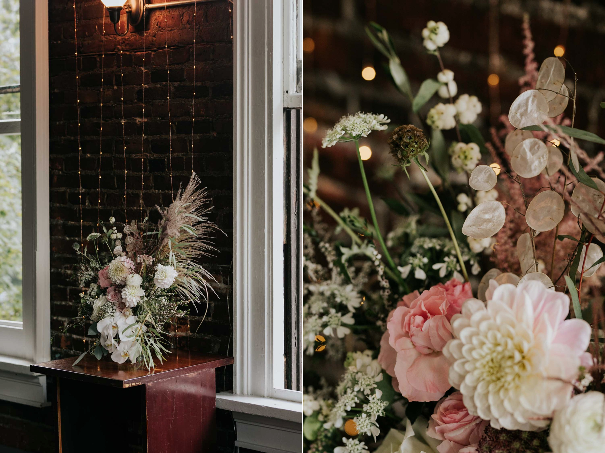 Light pink and white dried wedding flowers by The Wild Bunch florist in Vancouver