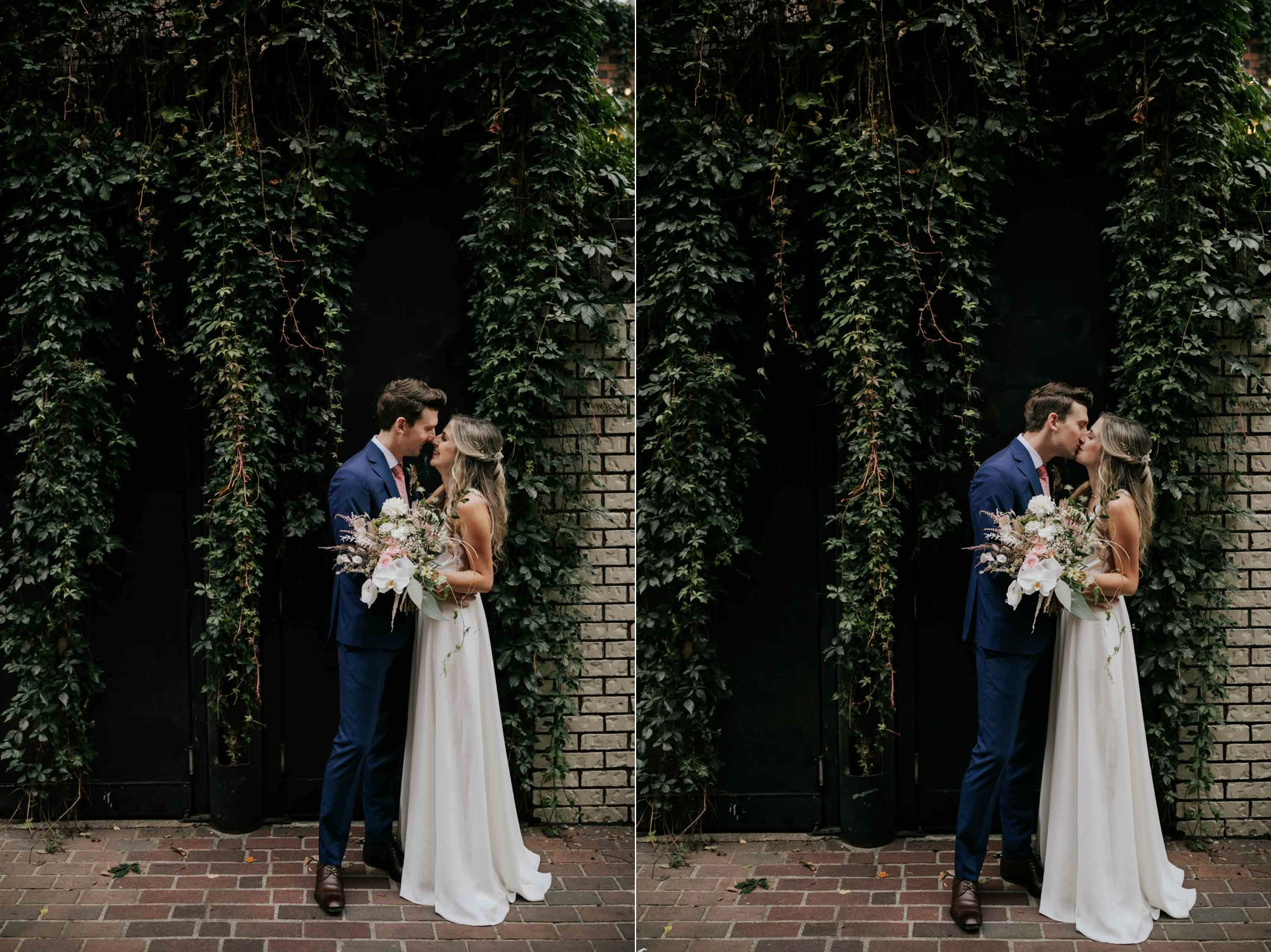 Wedding couple photo session on the city streets of Gastown in Vancouver next to a wall of vines
