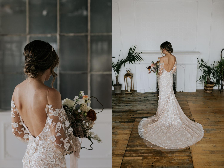 Bride wearing Tara Lauren Wedding Dress with puffed sleeves