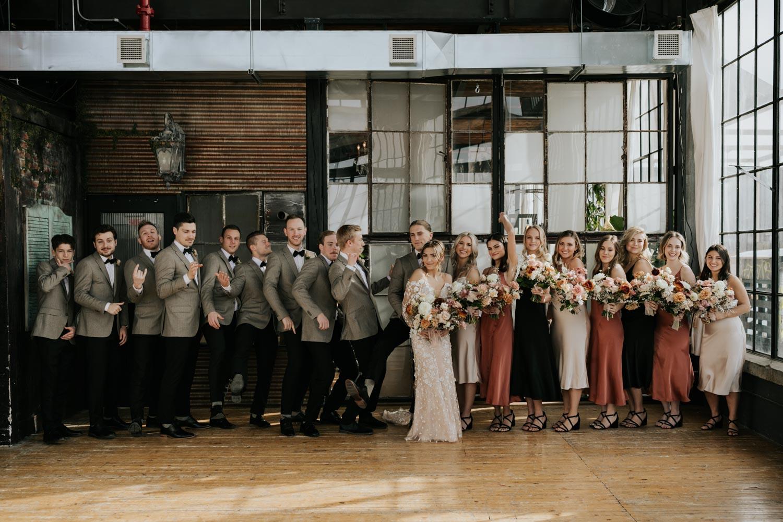 Big Bridal Party Wedding Photo photos at city urban Toronto Wedding Venue OBJX Studios