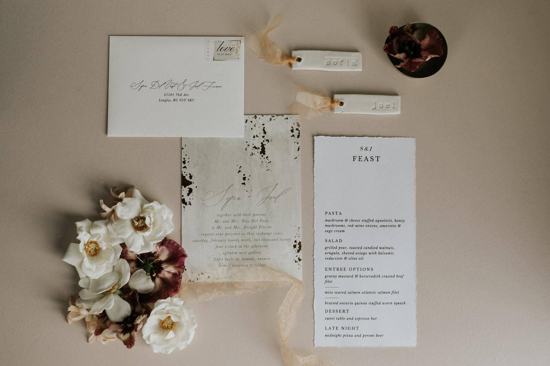 Minimalistic Wedding details flat lay photo