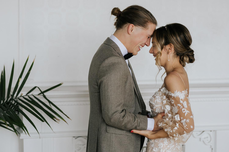 OBJX Studio Toronto City Wedding Venue Romantic Bride and Groom First Look